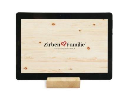 Smartphone & Tablethalter aus Zirbenholz Zirbenfamilie