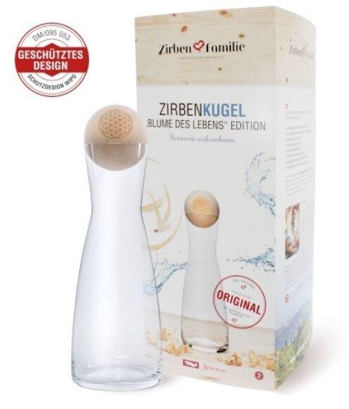 "Zirbenkugel Wasserkaraffe mit Zirbenkugel ""Blume des Lebens"""