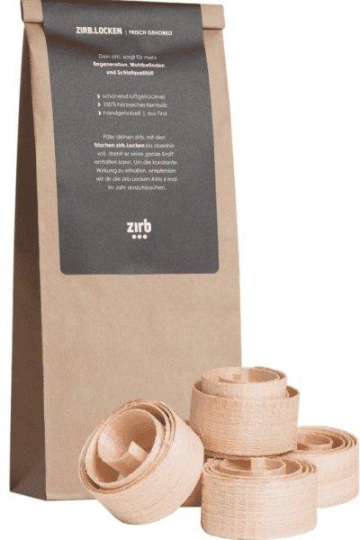 zirb. locken aus Zirbenholz, Verpackung