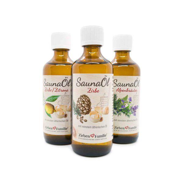 3er Set Saunaöl 100ml Zirbenfamilie mit reinstem ätherischen Öl